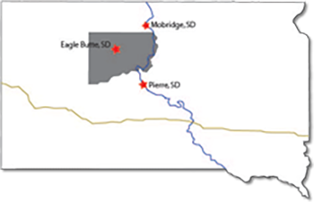 The Cheyenne River Indian Reservation covers approximately as much area as the state of Connecticut.